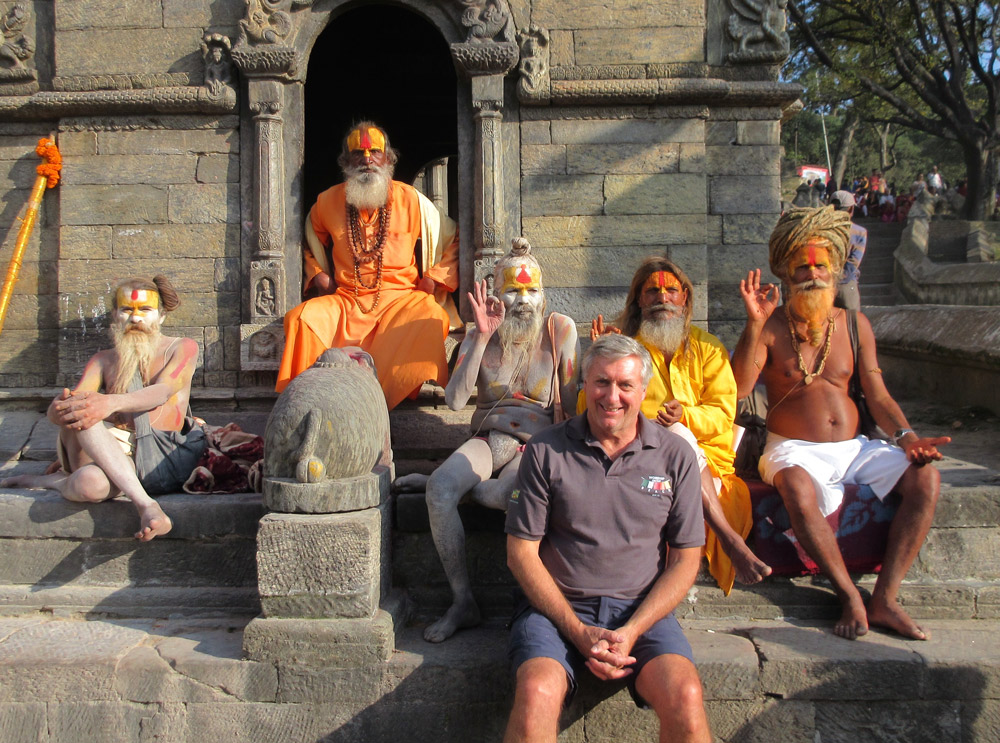 Tom with Hindu Holy Men