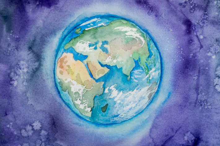 Watercolor Painting of the Earth